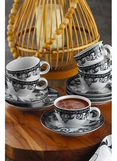 Kütahya Porselen Kütahya Porselen 12 Parça Kahve Fincan Takımı Renkli